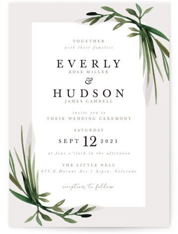 This is a portrait botanical, grey Wedding Invitations by Kate Ahn called Botanical Frame with Standard printing on Signature in Classic Flat Card format. Hand painted, layered greenery frames classically beautiful type in this wedding invitation.