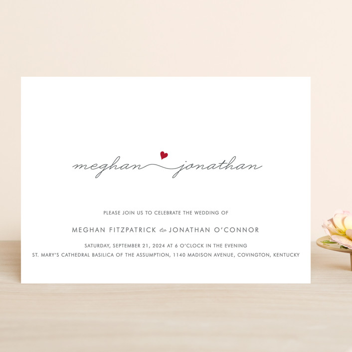 """""""Love Connection"""" - Modern, Simple Wedding Invitations in Red Hot by Kim Dietrich Elam."""