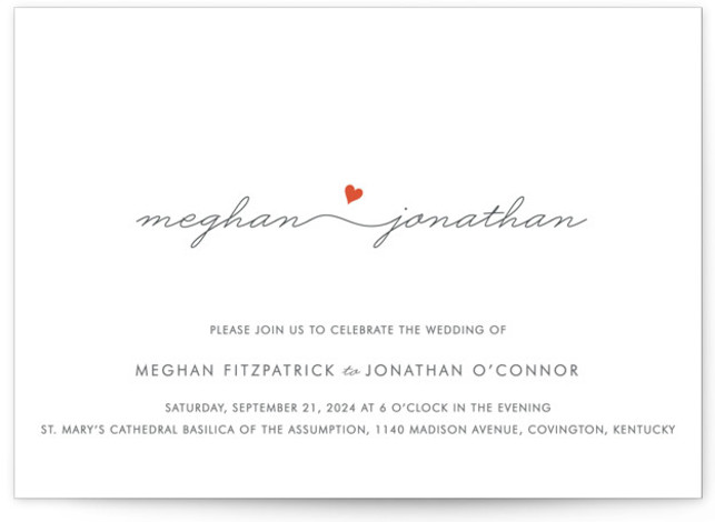 This is a landscape simple and minimalist, whimsical, orange Wedding Invitations by Kim Dietrich Elam called Love Connection with Standard printing on Signature in Classic Flat Card format.