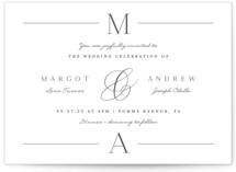 This is a white wedding invitation by Carolyn MacLaren called Classic Monogram with standard printing on signature in standard.