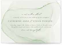 This is a green wedding invitation by Erin Deegan called cultured pearl with standard printing on signature in standard.