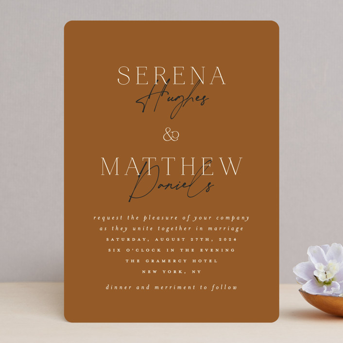 """""""Modern Traditionalist"""" - Wedding Invitations in Butterscotch by Morgan Kendall."""