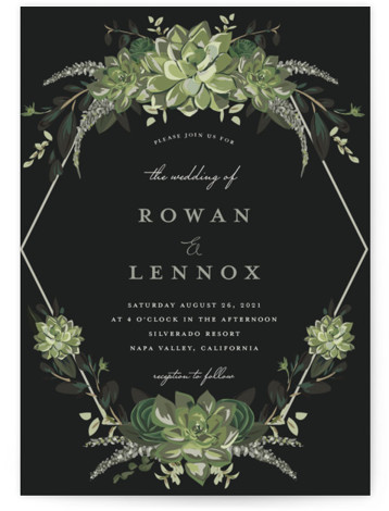 This is a portrait botanical, painterly, black, green Wedding Invitations by Susan Moyal called Echeveria with Standard printing on Signature in Classic Flat Card format. This wedding invitation features some blue rose succulents and greenery