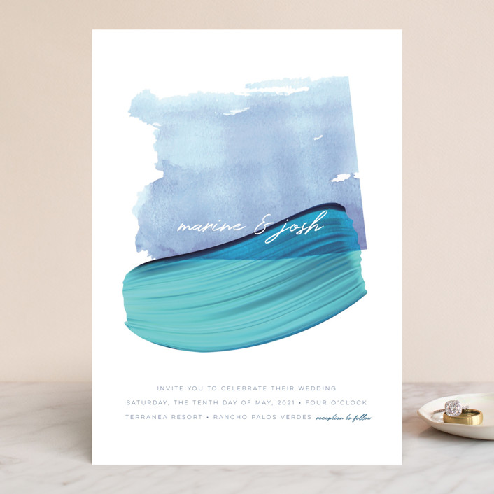 """Marine"" - Modern Wedding Invitations in Wave by kelli hall."