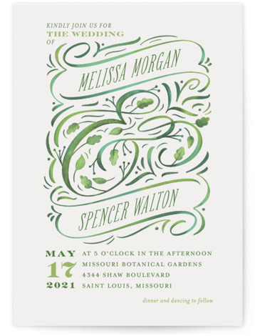 This is a portrait botanical, green, grey Wedding Invitations by Laura Bolter Design called Growing Ampersand with Standard printing on Signature in Classic Flat Card format. Hand painted botanical ampersand