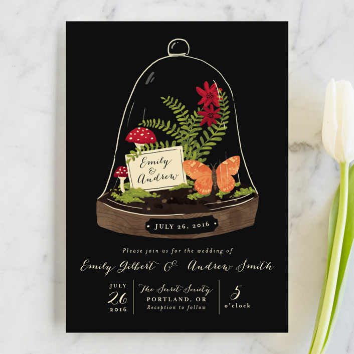 bell jar wedding invitations by pistols minted