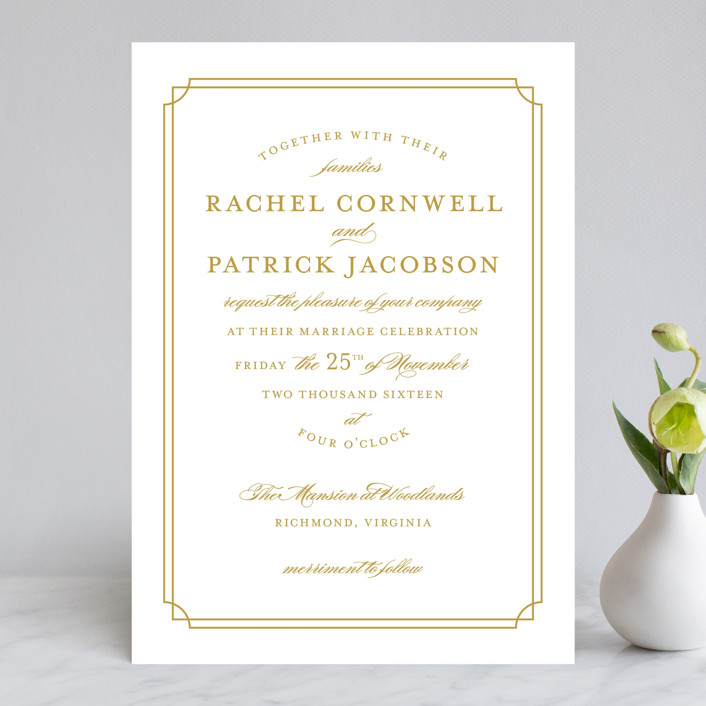 Luxe Border Wedding Invitations by Sarah Brown | Minted