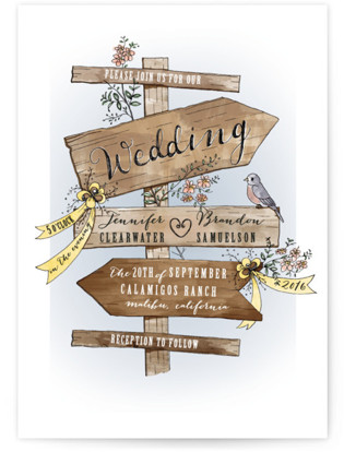 photo of The Wedding Sign Says Wedding Invitations