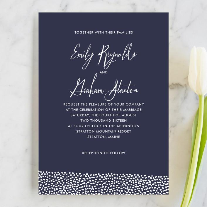 """Sprinkled Love"" - Elegant, Modern Wedding Invitations in Navy by Paper Dahlia."
