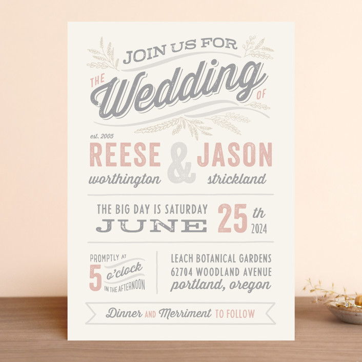 """Rustic Charm"" - Vintage Wedding Invitations in Petal by Hooray Creative."