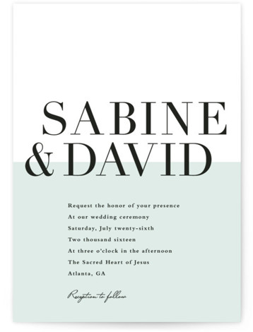 This is a portrait modern, preppy, green Wedding Invitations by Stacey Meacham called So Fresh with Standard printing on Signature in Classic Flat Card format. Large names in classically set type with a half wall of color used to ground ...