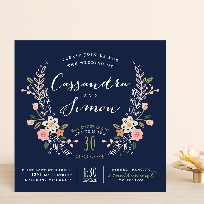 Wildflower Crest Wedding Invitations by Alethea and Ruth | Minted