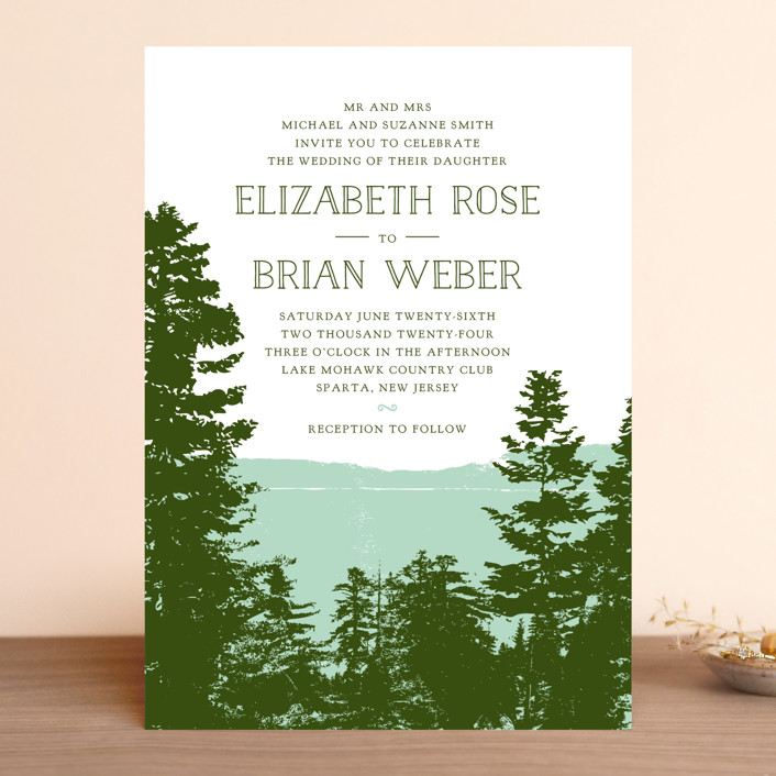 """Mountain View"" - Rustic Wedding Invitations in Pine Green by Ariel Rutland."