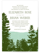This is a green wedding invitation by Ariel Rutland called Mountain View with standard printing on signature in standard.