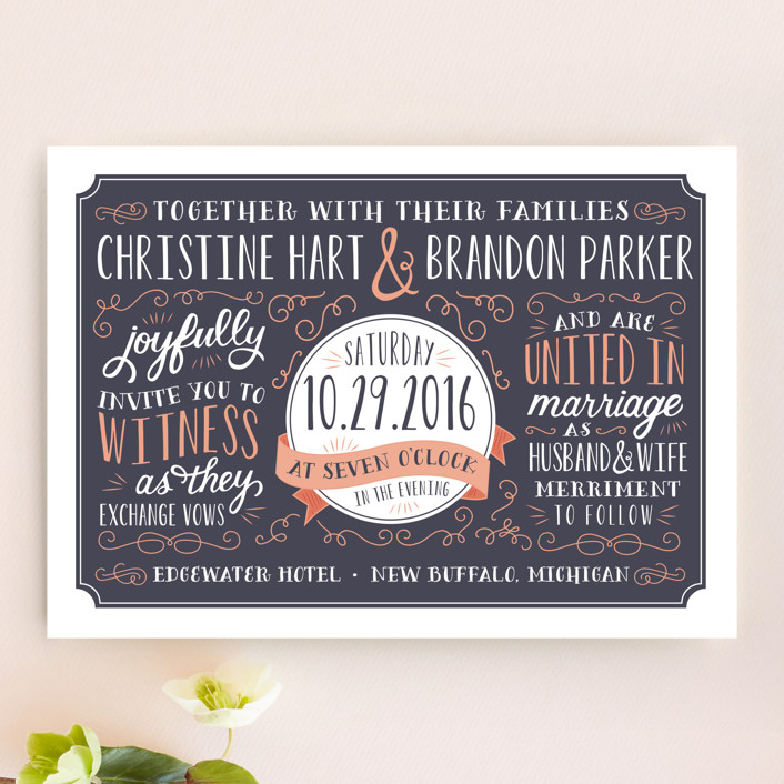 """""""Serendipity"""" - Rustic Wedding Invitations in Midnight by Sarah Guse Brown."""