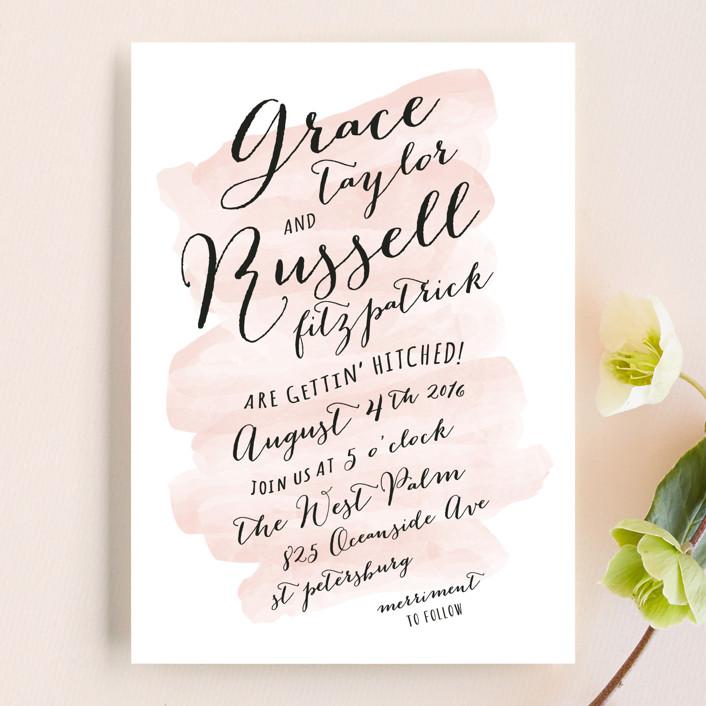 pastel watercolor wash wedding invitations by hooray creative minted