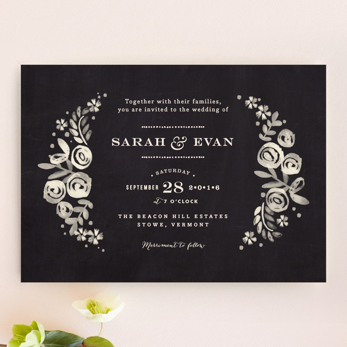 """Sun Bleached Florals"" - Floral & Botanical, Rustic Wedding Invitations in Blackboard by Jennifer Wick."
