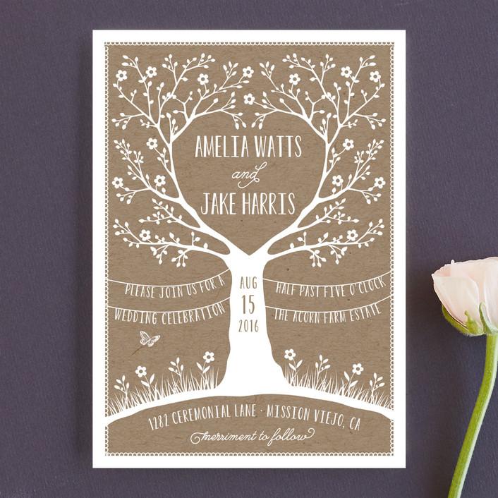"""Kraft Woodland Tree"" - Rustic Wedding Invitations in Buckwheat by Coco and Ellie Design."