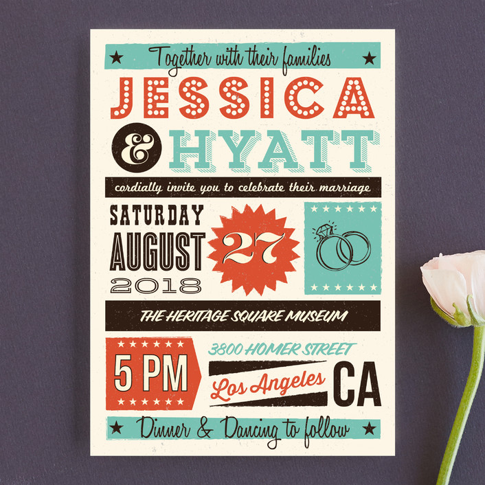 """MidCentury Poster Board"" - Vintage, Whimsical & Funny Wedding Invitations in Tangerine by Coco and Ellie Design."
