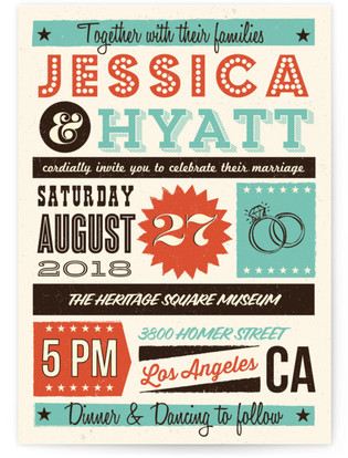Mid Century Poster Board Wedding Invitations