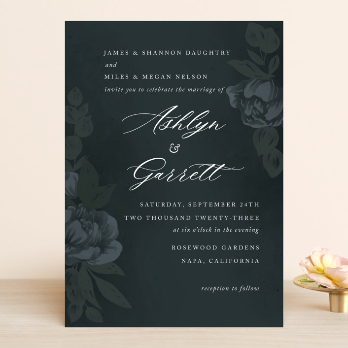 """Peaceful Garden"" - Wedding Invitations in Deep Sea by Jill Means."