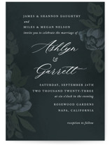 This is a blue wedding invitation by Jill Means called Peaceful Garden with standard printing on signature in standard.