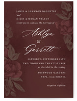 This is a red wedding invitation by Jill Means called Peaceful Garden with standard printing on signature in standard.