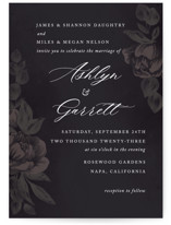 This is a black wedding invitation by Jill Means called Peaceful Garden with standard printing on signature in standard.