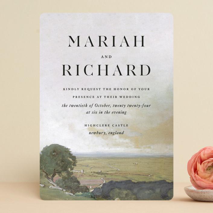 """Roman Landscape"" - Rustic Wedding Invitations in Moss by Olivia Kanaley Inman."
