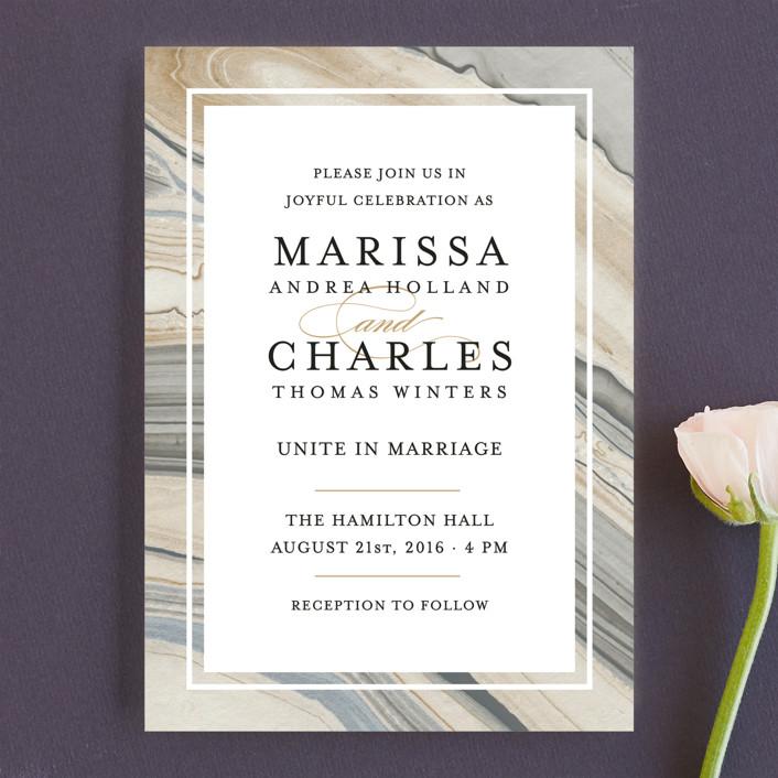 """Elegant Marble"" - Bohemian Wedding Invitations in Marble by Liz Conley."