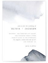 This is a blue wedding invitation by Leah Bisch called Blueridge with standard printing on signature in standard.