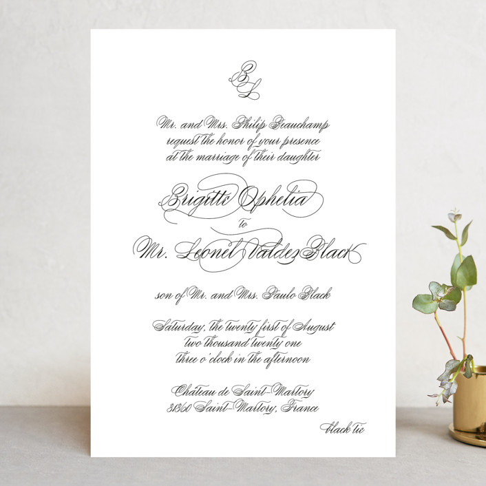 """One and Only"" - Wedding Invitations in Classic Bride by Design Lotus."