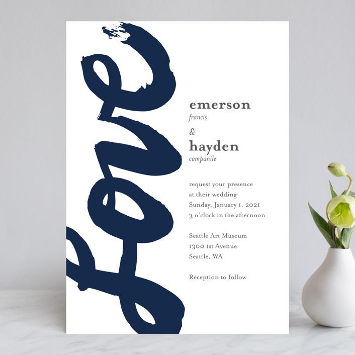 """Brushed Love"" - Modern Wedding Invitations in Night Navy by Lisa Guerrero."