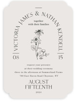 This is a grey wedding invitation by Baumbirdy called Floral Type Arch with standard printing on signature in standard.