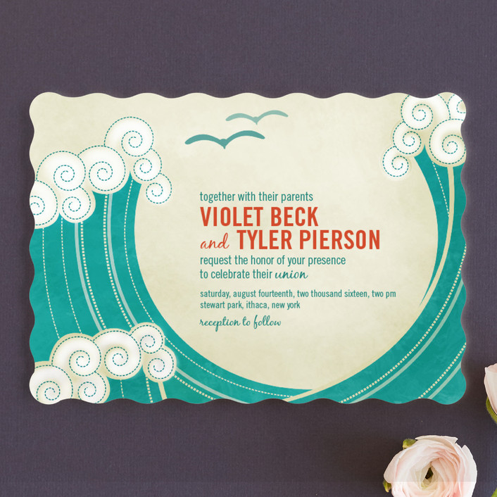 """""""BLOCK PRINT WAVES"""" - Modern, Whimsical & Funny Wedding Invitations in Teal by bumble ink."""
