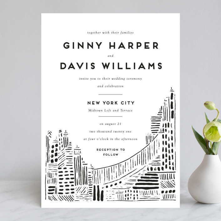 """Love In The City"" - Wedding Invitations in Pearl by Shiny Penny Studio."