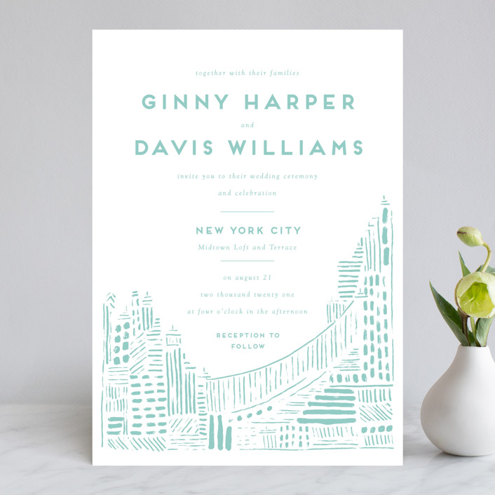 """""""Love In The City"""" - Wedding Invitations in Pearl by Shiny Penny Studio."""