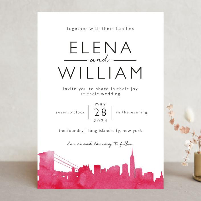 """Skyline -New York"" - Modern Wedding Invitations in Magenta by Laura Condouris."
