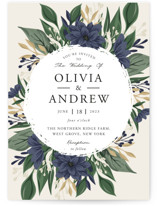 This is a blue wedding invitation by Oma N. Ramkhelawan called Ophelia's Garden with standard printing on signature in standard.