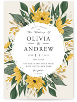 This is a yellow wedding invitation by Oma N. Ramkhelawan called Ophelia's Garden with standard printing on signature in standard.