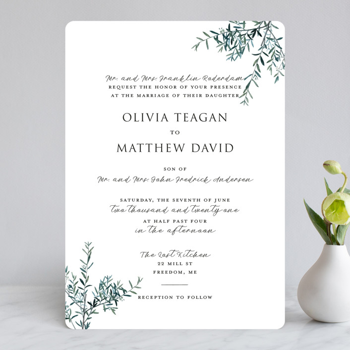 """Fresh Sage"" - Rustic Wedding Invitations in Olive by Christie Kelly."