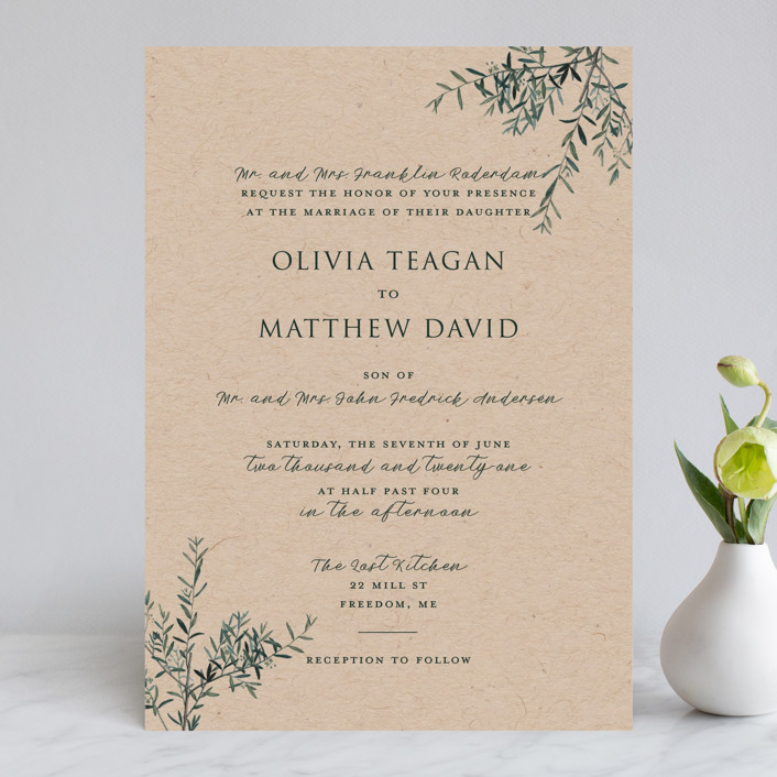 """""""Fresh Sage"""" - Rustic Wedding Invitations in Olive by Christie Kelly."""