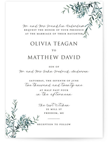 This is a portrait botanical, rustic, green, white Wedding Invitations by Christie Kelly called Fresh Sage with Standard printing on Signature in Classic Flat Card format. Set the tone for your bright and lovely nuptials with this delicate and delightful ...