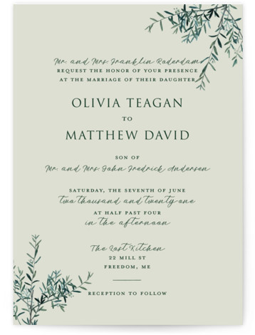 This is a portrait botanical, rustic, green Wedding Invitations by Christie Kelly called Fresh Sage with Standard printing on Signature in Classic Flat Card format. Set the tone for your bright and lovely nuptials with this delicate and delightful invitation. ...