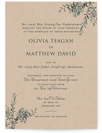 This is a portrait botanical, rustic, brown Wedding Invitations by Christie Kelly called Fresh Sage with Standard printing on Signature in Classic Flat Card format. Set the tone for your bright and lovely nuptials with this delicate and delightful invitation. ...