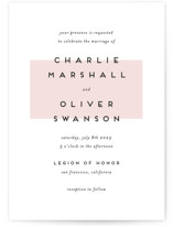 This is a pink wedding invitation by Katy Shen called Elementary with standard printing on signature in standard.