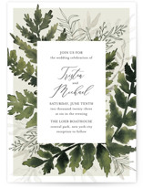 This is a green wedding invitation by Chris Griffith called Love springs eternal with standard printing on signature in standard.