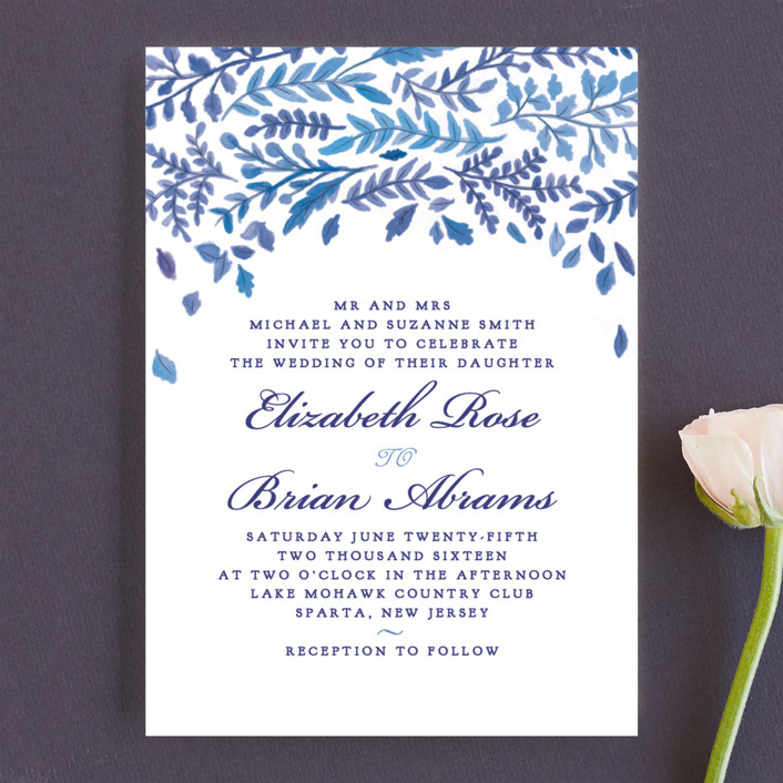 """China Plate"" - Wedding Invitations in Royal Blue by Ariel Rutland."