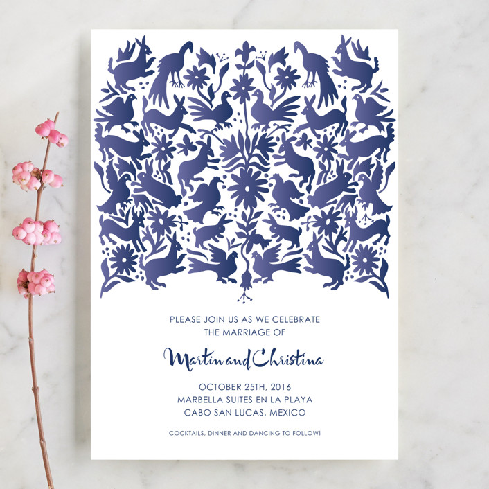 """Otomi"" - Wedding Invitations in Denim by Paper Monkey Press."