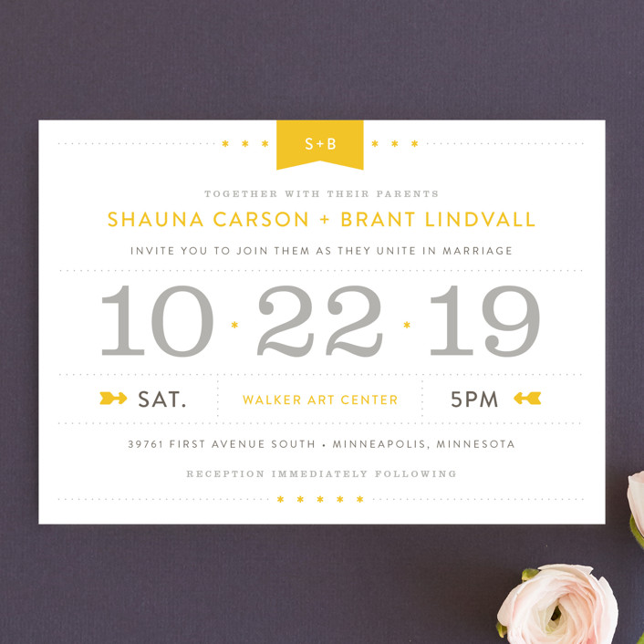 """Sunshine Day"" - Destination, Modern Wedding Invitations in Mustard by Michelle Taylor."